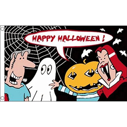 Halloween MIT Cartoon 150x90cm - HALLOWEENFEST Fahne 90 x 150 cm - flaggen Top Qualität ()