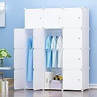 PREMAG Armoire Penderie Portable Storage Modulable Meuble Étagères de Rangement DIY avec Blanc Portes pour Vêtements…