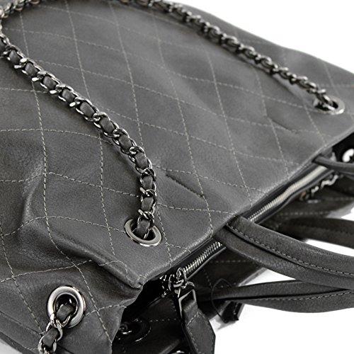Damentasche Handtasche Tragetasche Schultertasche Tasche Lederimitat Kunstleder LK0115 Braungrau