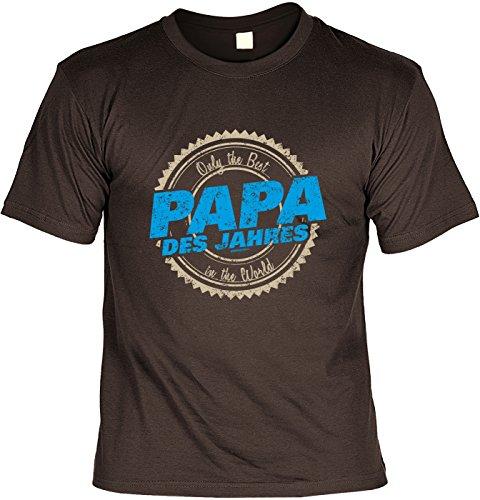 Vatertags T-Shirt - Papa des Jahres - The Best in the World - cooles Shirt mit lustigem Spruch als Geschenk für Väter mit Humor Braun