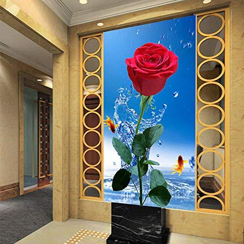 3D tapete Wandbilder Foto-rote Rosen-Wasser-Tropfen-Mode-Innenblumen-Design-Wohnzimmer-Eingang 200x140CM - Nelke Tropfen