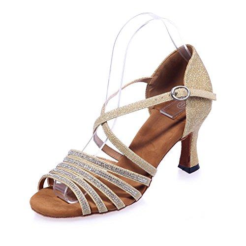 L@YC Scarpe Da Ballo Di Donne Sandali Di Seta Latino alto Tacchi alti Camera Fine Con 7,5 / Grandi Cortili golden