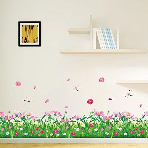 WandSticker4U- Wandtattoo Blumenwiese KAMILLE in 2er Set | Breite: 228cm | Wandaufkleber Libelle Gräser Pflanze Fenstersticker grüne Wiese Blumen Bordüre Blüten rosa | Deko für Wohnzimmer Kinderzimmer
