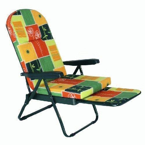 Chaise longue à roulettes 'ovale' en tissu, avec accoudoirs en plastique. Épaisseur Coussin appuie-tête cm. 7. Repose jambes coulissant. Structure à tubes en aluminium de cm. 3 x 1.5 Coloris aleatoire