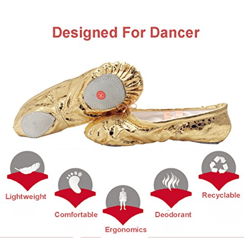 KRY  Leather Ballet Shoes, Ballet fille mixte adulte femme mixte enfant Sequins Gold