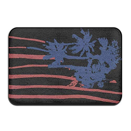Wdskbg USA American Flag Palm Art Non-Slip Outside/Inside Floor Mat for Health and Wellness Toilet Bathroom Doormat 23.6
