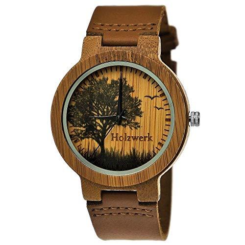 Handgefertigte Holzwerk Germany Designer Damen-Uhr Herren-Uhr Öko Natur Holz-Uhr Leder Armband-Uhr Save The Trees Analog Klassisch Quarz-Uhr Braun mit Baum Natur Motiv Limitiert
