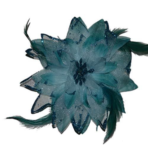 k Haarschmuck mit Federn Haarblume Ansteckblume Ansteckblüte Glitzer Hochzeit Karneval (Türkis) ()