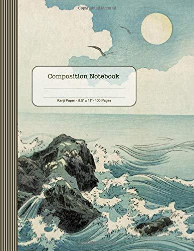Composition Notebook: Kanji Journal (Large) - Blank Japanese Writing Practice Book - Exercise Paper Workbook To Write Kanji, Kana, Katakana or Hiragana - Japan Art Illustration Ocean Waves Landscape (Notebook Schule Schreiben)