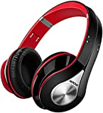 Mpow Bluetooth Headphones [High Quanlity] Over Ear Headphones, Stereo Foldable Headphones Wireless Headphones with Soft Earmuffs, Built-in Mic for Mobile Phone TV PC Laptop (Storage Bag Included, Black & Red)