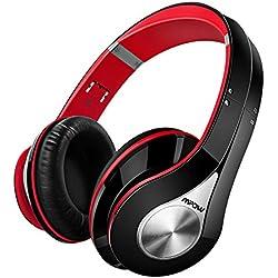 Mpow 059, Auriculares Bluetooth de Diadema Inalámbricos, Cascos Bluetooth Plegable con Micrófono Manos Libres y Hi-Fi Sonido Estéreo 20 Horas Reproducción de Música Orejeras de Memoria Suave para TV, PC, Tablet, Móvil, Rojo