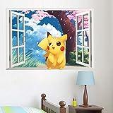 Populaire Jeu Pikachu Pokemon Go Stickers Muraux Pour Enfants Chambres Chambre de Bande Dessinée Fenêtre Stickers Muraux Pvc Diy Posters 50 * 70Cm