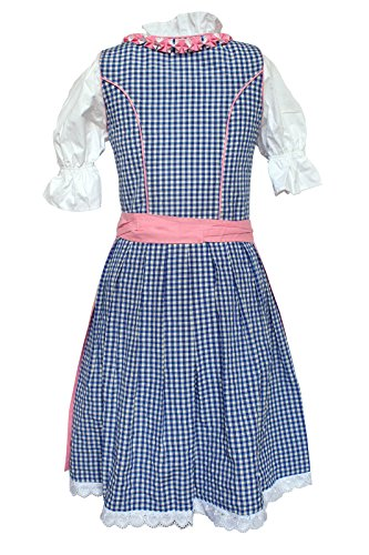 Alpenmärchen, 3tlg. Dirndl-Set - Trachtenkleid, Bluse, Schürze, blau-rot (in verschiedenen Größen erhältlich)