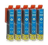 5 Druckerpatronen kompatibel zu Epson 24-XL T2432 (Cyan) passend für Epson Expression Photo XP-55 XP-750 XP-760 XP-850 XP-860 XP-950 XP-960