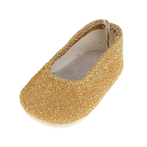 Glitter Schuhe Gold (MagiDeal Paar Glitter Gold-Wohnung Dolly Schuhe Für)