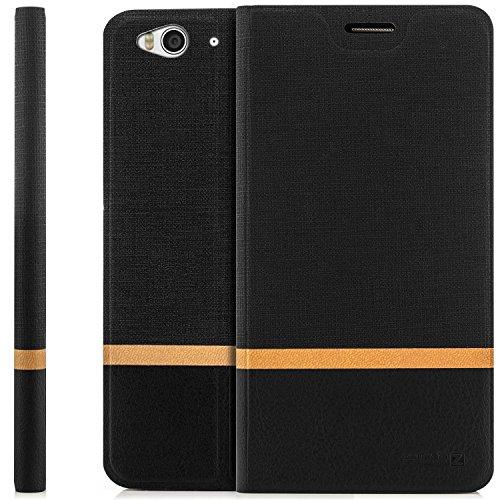 Coque ZTE Blade S6 [zanasta] Housse Etui Ultra Mince Case Flip Cover avec Poche intérieur Wallet Haute Qualité Noir