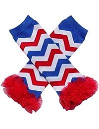 0a8dc49f753 So Sydney Baby Toddler Girl Chevron Stripe Tutu Chiffon Ruffle Leg Warmers  (Red White Blue