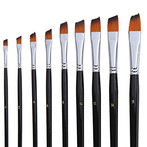 9pcs Art Pinceaux Parfait Acrylique Aquarelle Peinture Huile Longue Poignée Noir