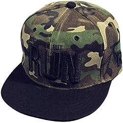 Malloom Bordado manera Snapback Boy Hip Hop ajustable del sombrero gorra de béisbol unisex (camuflaje)