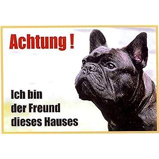 AkaPit Warnschild Bulldogge schwarz 059 ca. 21 x 15 cm laminiert wasserabweisend Motiv : ` Ich Bin der Freund Dieses Hauses `Verwendbar im Innen und Außenbereich