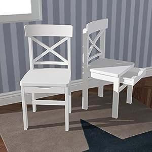 ROOMSTAR chaise en bois massif avec tiroir intégré blanc