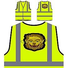 Divertida Máscara De Hombre Lobo Chaqueta de seguridad amarillo personalizado de alta visibilidad r573v