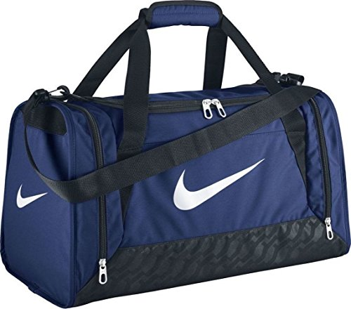 Nike unisex-adult Brasilia 6 Duffel Bag Duffel Bag, Navy/Black/White, One Size
