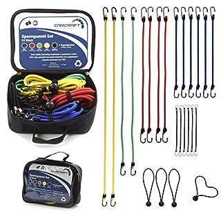 CARCRAFT 24er Set Premium Spanngummis bzw. Gepäckspanner mit Haken/inkl. Tasche/extra starke u. langlebige Expander/Spanngurte / Spannseile