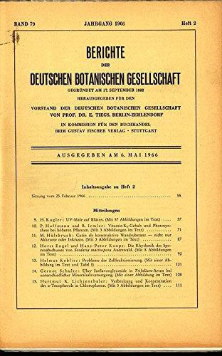 Probleme der Zellfraktionierung, in: BERICHTE DER DEUTSCHEN BOTANISCHEN GESELLSCHAFT, 6. Mai 1966, Band 79, Heft 2.