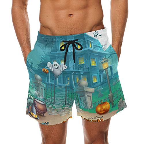 BHWYK Men's Mysterious Halloween Haunted House Beach Board Shorts Quick Dry Swim Trunkfor Summer Vacations M-XXL Code(XL) (Halloween-dress-code Für Männer)