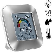 termómetro higrómetro Fancylande Termómetro e higrómetro interior Reloj electrónico táctil Reloj confortable Termómetro sin pilas