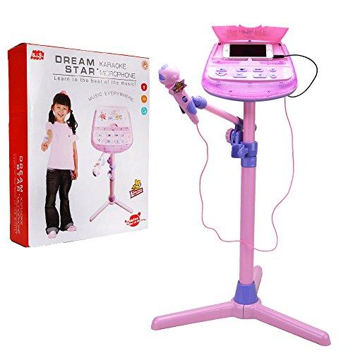 Kids Karaoke Microphone Musical Toys - Wishtime ZM16038 Kids Pink Karaoke Adjustable Stand With External Music Function & Flashing Lights Toy for Kids Children Girls