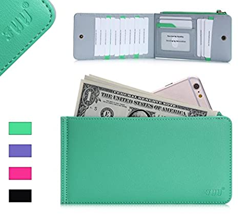 Card Wallet, Fyy 100% Handmade Genuine Leather Top-quality Card Case Universal Travel Card Holder Mint Green