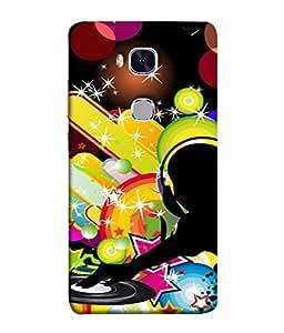 PrintVisa Designer Back Case Cover for Huawei Honor 5X :: Huawei Honor X5 :: Huawei Honor GR5 (Colourful yellow black pink blue)