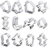 OUNONA 12pcs Christmas Cookie Cutter Cake Biscuit Moulds Stainless Steel Fondant Icing Mold DIY Baking Tools