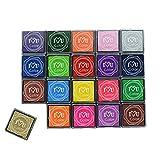 Tampon d'encre coloré 20 couleurs, petits tampons d'encre, pour bricolage artisanal, tampons d'encre en caoutchouc, fabrication de cartes, pour tous les âges et utilisations infinies.
