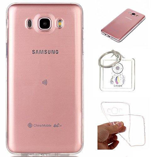 Preisvergleich Produktbild Hülle Galaxy J7 2016 / SM-J710 (5,5 Zoll) Hülle Soft Flex Transparent Silikon TPU Handyhülle Schutzhülle für Samsung Galaxy J7 2016 J710 (5,5 Zoll) Case Cover - Crystal Clear + Schlüsselanhänger (P) (1)