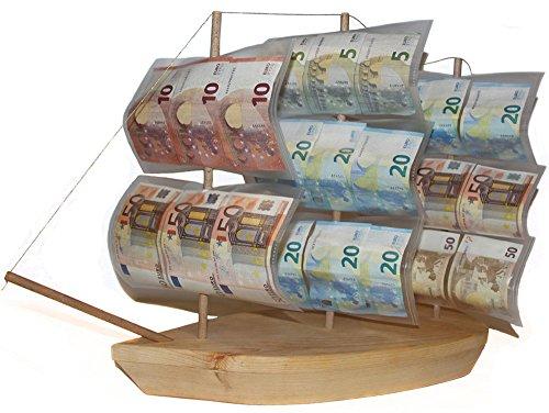 ke-Verpackung zum Geburtstag, Geburtstagsgeschenk Segel-Schiff aus Holz zu Pensionierung/Ruhestand, kreativ originell Geld-Geschenkidee-n DREI-Master zur Rente Feier ()