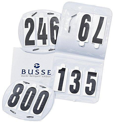 Busse Startnummern OVAL, Tasche, 3-stellig, Gummiband, weiß