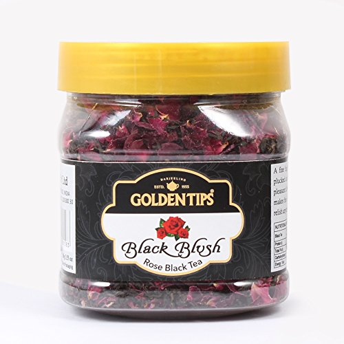 Golden Tips Black Blush Herbal Rose Black Tea 100g/3.53oz (40 Cups), Rose Petals, Loose Leaf Tea