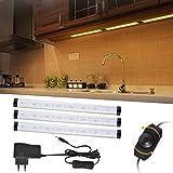 Lampe LED de Cabinet Dimmable 24 LED 12W 3pcs, Lumières LED Adhésives pour Éclairage Armoire Miroir Cuisine Placard avec Adaptateur secteur et câble d'interconnexion, Blanc chaud
