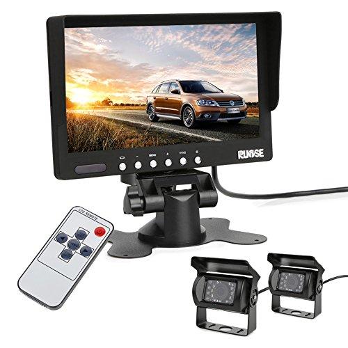 Rupse 18 LED Telecamera a infrarossi X2+Monitor Videocamera Retromarcia Visione Notturna per Auto,schermo LCD da 7 pollici con cavo