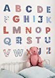 Funtosee Alphabet Upper Case Themed Room Stickers, Giant, Set of 26,  Red White and Blue