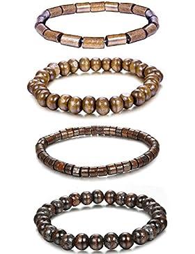 Jstyle 4 Pcs Armbänder Holz Armband Armkette Holzkugel für Damen Herren