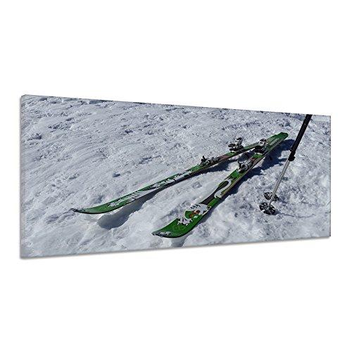 Ski Langlauf Bindung Stöcke Schnee Winter Leinwand Poster Druck Bild dz0170 180x90