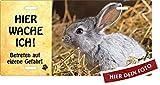 Metallschild Hase, Kaninchen mit eigenem Foto, Text selbst gestalten Türschild Warnschild für innen und außen