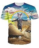 uideazone Männer Cosplay Katze im Wüsten-Regenbogen-lustiges T-Shirt