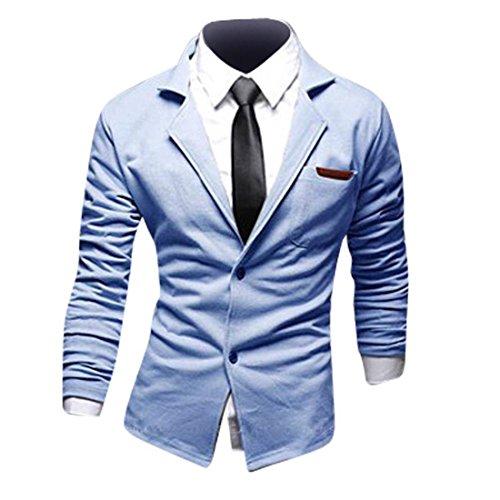 Jeansian Hommes Manteau Personality Fashion Design Couleur Unie Leisure Suit Jacket 8980 LightBlue