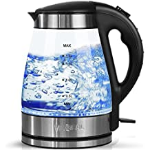 Kettles Electric Glass - 1.7L Blue LED Illuminated Kettle Stainless Steel Kettle, 2200W Quick Boil Cordless Electric Kettle with Auto Shut Off & Overheating Protection for Water Tea Make, Black