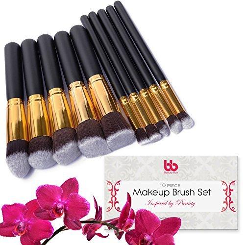 Lot de 10 pinceaux de maquillage professionnels Beauty Bon, végétalien, avec manches en plastique - Idéal pour appliquer l'anticernes, le fond de teint, les fards et les poudres